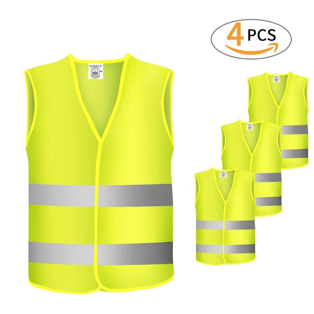4 pezzi Giubbotto gilet giallo catarifrangente,Giubbotto di sicurezza riflettente per emergenze, attività di traffico, corsa, bicicletta, passeggiate attività all'aperto e di lavoro attività di traffico Trybesty