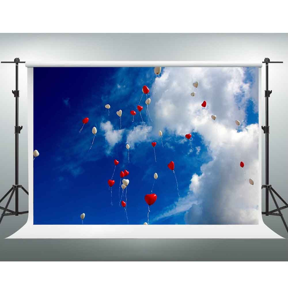Gesen 10 x 7ft Romantic Backdropハート型レッドホワイトバルーンFilled with Blue Sky Backdrop Love情報写真家ウェディング写真パーティーYou Tube背景sen258   B07C87GSM6