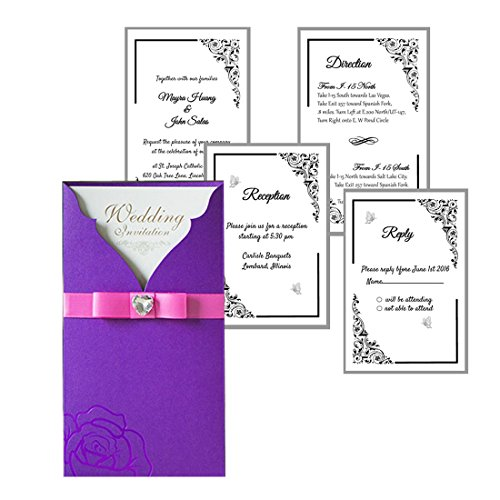 Wishmade Elegant Wedding Invitations Laser Cut Party Invites Cards with Printable Paper and Envelopes for Engagement Wedding Quinceanera Birthday Bridal Bride Baby Shower Party 20PCs (Lavender)