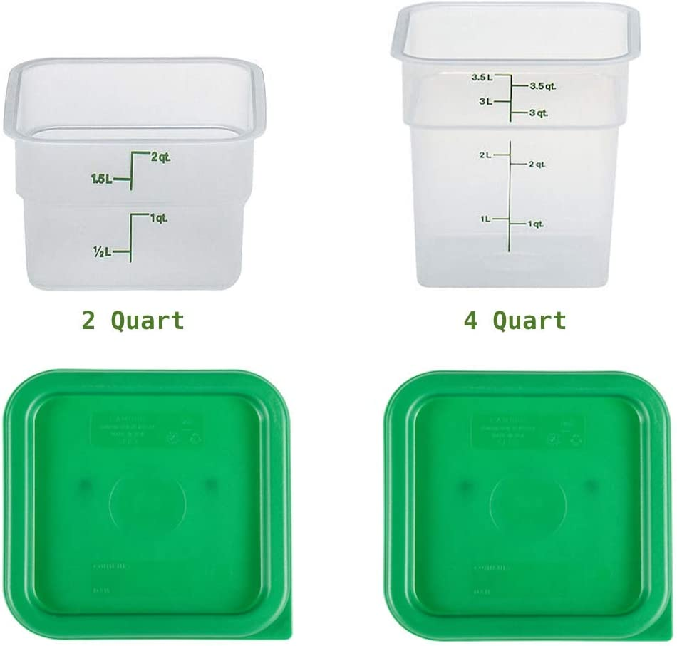 Cambro Containers With Lids - 2 Quart and 4 Quart Food Storage Set - 2 Pack
