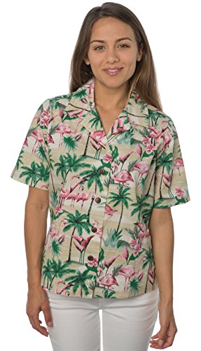 Benny's Womens Flamingos Hawaiian Shirt (S, Sand)