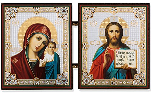 Religious Gifts Christ the Teacher and Virgin of Kazan Russian Orthodox Icon Diptych 5 1/4 - Icon Russian Orthodox