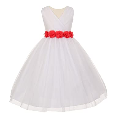 b81e41fb9c8 Amazon.com  Cinderella Couture Big Girls White Coral Chiffon Flowers ...