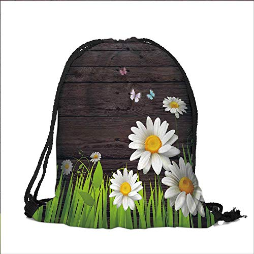 Pocket Drawstring Bag Antique Old Planks American Style Western Rustic Wooden and white daisies, grass and butterflies Backpack Student Bag 12