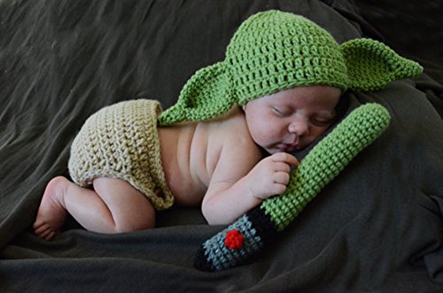 Pinbo Newborn Baby Crochet Photography Prop Yoda Hat Cover Diaper Costume by Pinbo (Image #2)