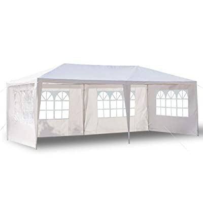 10'x20' Canopy Tent Four Sides Waterproof Portable Gazebo Tent with Spiral Tubes White for Party Wedding Commercial Waterproof, UV Protection Shelter : Garden & Outdoor