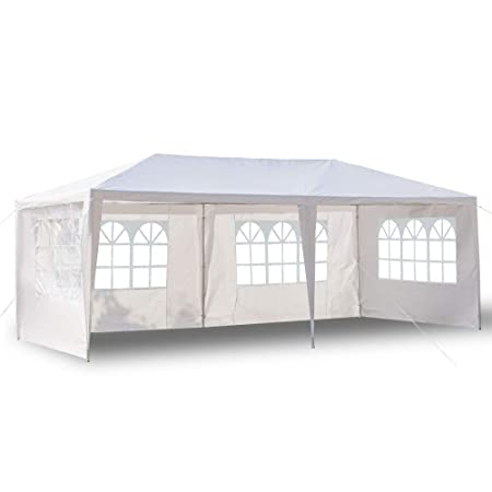 Boylymia 10 x 20 Outdoor White Waterproof Gazebo Canopy Tent with 6 Removable Sidewalls and Windows Heavy Duty Tent for Party Wedding Events Beach BBQ