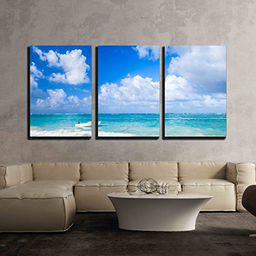 Wall26   3 Piece Canvas Wall Art   Small White Motor Boat Floats Moored Near The Coast Of Atlantic Ocean  Dominican Republic   Modern Home Decor Stretched And Framed Ready To Hang   16 X24 X3 Panels
