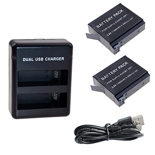 Suptig Battery (2 Pack) and Daul Charger for Gopro HERO4 Black Gopro HERO4 Silver and Gopro AHDBT-401