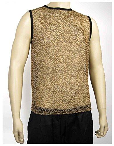 Men's Mesh Cheetah Heavy Metal Tank Top Shirt (Large)