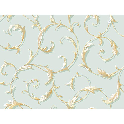 York Wallcoverings Blue Book Acanthus Scroll Wallpaper Memo Sample, 8 by 10-Inch, Spa Blue
