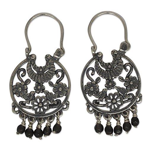NOVICA Onyx .925 Sterling Silver Dangle Earrings 'Dance of the Flowers'