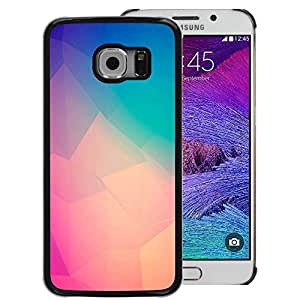 A-type Arte & diseño plástico duro Fundas Cover Cubre Hard Case Cover para Samsung Galaxy S6 EDGE (NOT S6) (Teal Peach Purple Yellow Polygon Art)