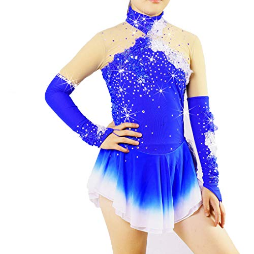 D&uDesign Figure Skating Dress for Women Girls Ice Skating Dress Handmade Professional Long Sleeved Ice Skating Competition Performance Costume with Crystals Sweat-Wicking,Blue+Purple,10 (Used Figure Skating Competition Dresses For Sale)