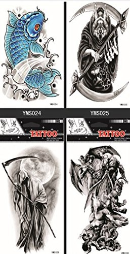 Grashine long last and look like real temporary tattoos 4pcs Halloween temp tattoo stickers in one package,it including devils,skulls,monsters,fishes,etc. -