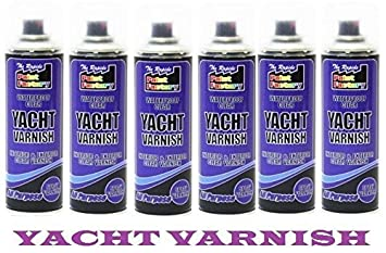 Awesome Clear Yacht Varnish Spray All Purpose Exterior Interior Waterproof Spray  Can 250ml (PACK OF 12