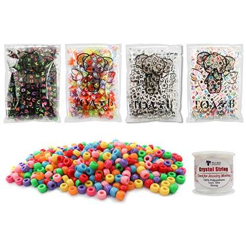 TOAOB 1200pcs 4 styles Letter Beads Acrylic Cube Multi Colors Alphabet Beads and Pony Beads kit with Elastic Cord for DIY bracelet necklace -