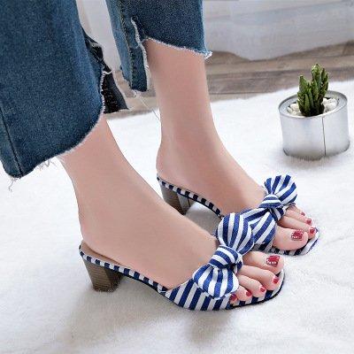 dedos zapatillas altos tacones Zapatos rayas de altos blue pies mujer tacones los de tacones suaves y con BqzzEwxt