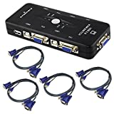 COOLEAD 4 Port USB 2.0 KVM VGA Switch Box Adapter for PC Keyboard Mouse Monitor + 4 USB VGA Cables