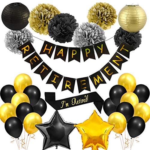JOYMEMO Retirement Party Decorations Black and Gold for Party Celebration, Happy Retirement Banner, Retired Sash, Paper Pom poms, Paper Lanterns]()