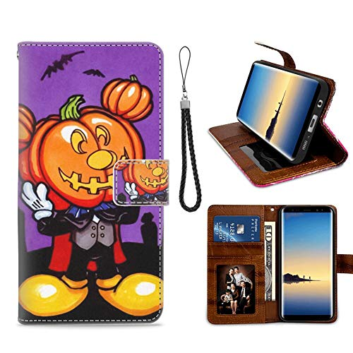 DISNEY COLLECTION Wallet Case with Card Holder for Samsung Galaxy Note 8 (2017) 6.3in Free Mickey Mouse Halloween Screensaver Folio]()