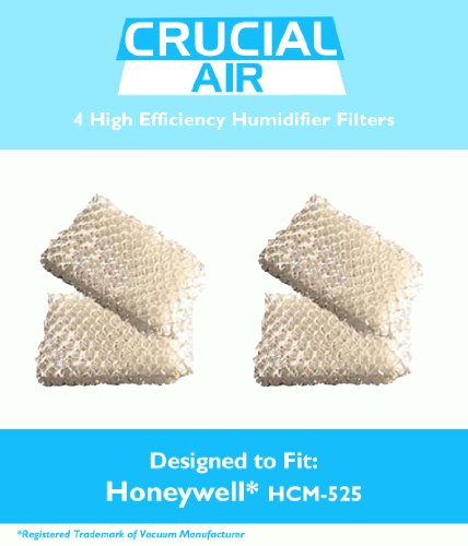4 Honeywell HCM-525 Humidifier Replacement Wick Filters, Fits Part # D13C, AC-813, AC813, AC 813, D13-C, D13C, D13 C, D13, D-13, Designed & Engineered by Crucial Air