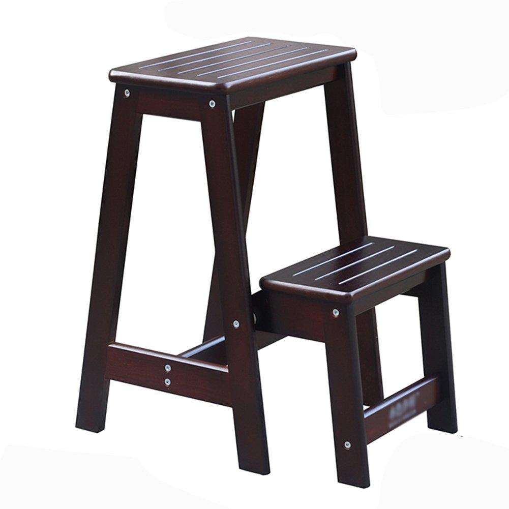 2段スツール家庭用梯子ソリッドウッド2段梯子椅子二重使用木製寝屋内梯子フラワースタンド (色 : ブラック) B07D8N57RS ブラック ブラック