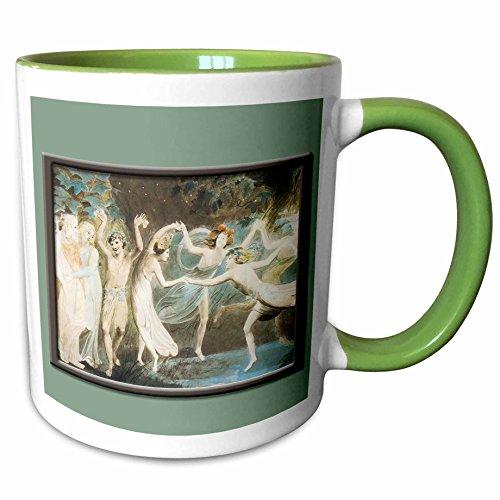 Fairies Dancing Collection (3dRose BLN Fairies Fine Art Collection - Oberon Titania and Puck with Fairies Dancing Willam Blake c. 1785 Fairy Painting - 15oz Two-Tone Green Mug (mug_126217_12))