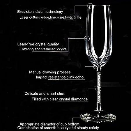 Diamante de cristal copas de vino (con tallo Set de 2