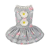 Flowers Tutu Dress ,Kindstore Dog Cat Bow Tutu Dress Lace Skirt Pet Puppy Dog Princess Costume Apparel Clothes(M,gray)