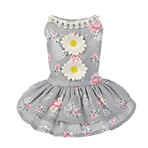 Flowers Tutu Dress ,Kindstore Dog Cat Bow Tutu Dress Lace Skirt Pet Puppy Dog Princess Costume Apparel Clothes(M,gray)