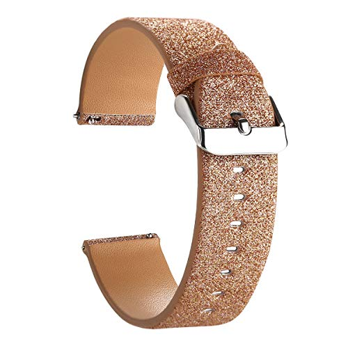 Moonooda Compatible with Samsung Galaxy Watch (42mm) Bands, 20mm Width Glitter Shiny Sparkling Replacement Strap Compatible with Galaxy Watch 42mm SM-R810/ SM-R815 Rose Gold