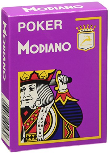 Modiano Italian Poker Game Playing Cards - Purple Poker - Large 4 Index - Single Card Deck - 100% Plastic Made in -