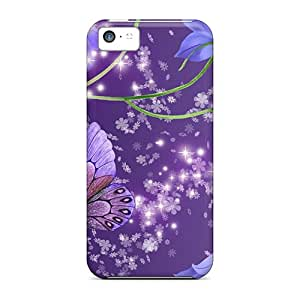 High Quality Hard Phone Cover For Iphone 5c (OrA4736puTN) Unique Design Colorful Blue Bells On Purple Pictures