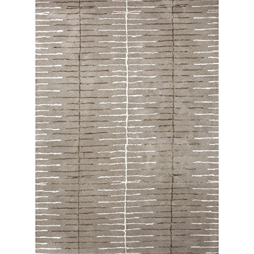 3.5′ x 5.5′ Dialed-in Ash Gray and Lily White Wool and Art Silk Area Throw Rug