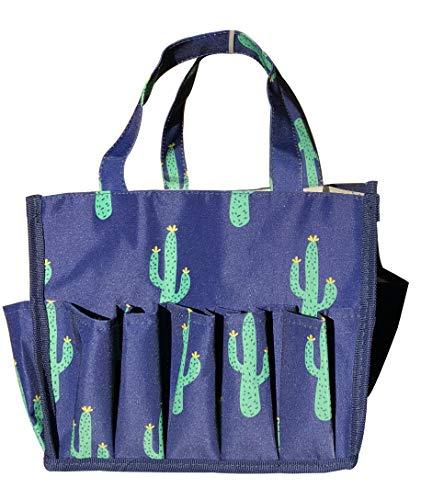 April Fashions NHY009-28-BL Organizer Caddy Tote, Craft Organizer, Lucky Bingo Bag, Baby Diaper Bags, Blue Green Cactus Pattern ()