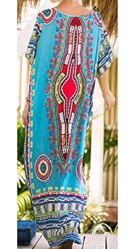 Sized Long Cut Pattern3 Neck Over Ethnic Baggy Coolred Out Dress V Women RzYfwf