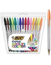 Cristal Multicolour Balpen, pennen voor kleurrijk schrijven en meer - diverse kleuren, verpakking van 15 - brede punt (1,6 mm)