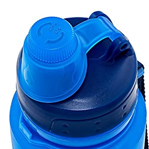 Nomader BPA Free Collapsible Sports Water Bottle - Foldable with Reusable Leak Proof Twist Cap for Travel Hiking Camping Outdoors and Gym - 22 Ounce (Blue)