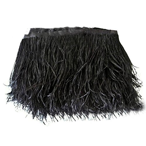 Lanshi Ostrich Feathers Trims Fringe with Satin Ribbon Tape for Dress Sewing Crafts Costumes Decoration Pack of 2 Yards (Black) Black Ribbon Trim