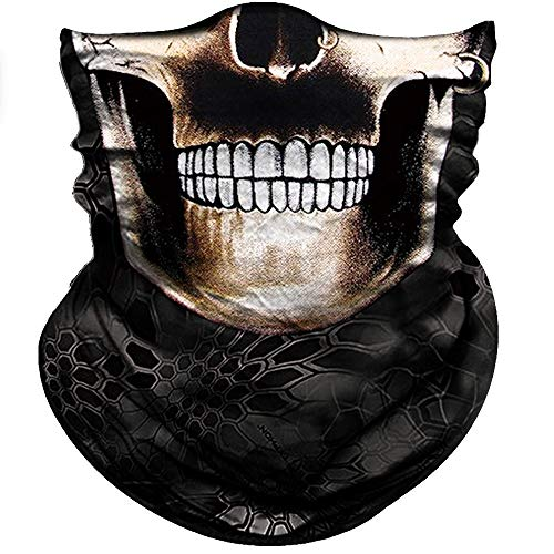 (Obacle Skull Face Mask Half Sun Dust Protection, Vivid 3D Tube Mask Seamless, Durable Face Mask Bandana Skeleton Face Shield Motorcycle Fishing Hunting Cycling Festival (Black Outline Skull))