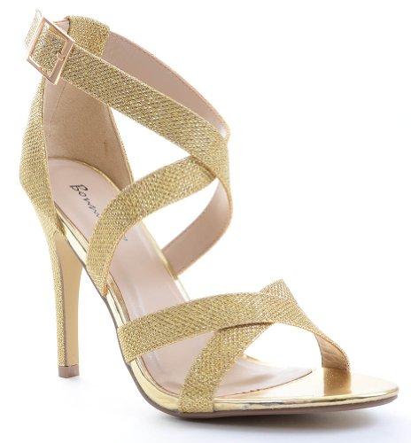 Glitter Open Toe Wedding Formal Ankle Strap Heel, Gold, 6.5 M US