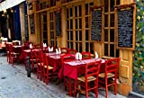 AOFOTO 8x6ft French Restaurant Backdrop European City Street Bistro Outdoor Dining Table Photography Background Urban Lane Bar Streetscape Tourism Photo Studio Props Adult Lovers Portrait Wallpaper