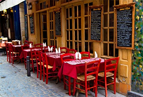 AOFOTO 8x6ft French Restaurant Backdrop European City Street Bistro Outdoor Dining Table Photography Background Urban Lane Bar Streetscape Tourism Photo Studio Props Adult Lovers Portrait Wallpaper by AOFOTO