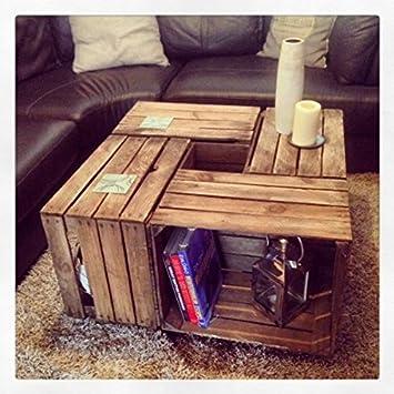 JB Wood Designs Mesa de café en Cajas de Madera - rústico Vintage Apple Cajas: Amazon.es: Hogar