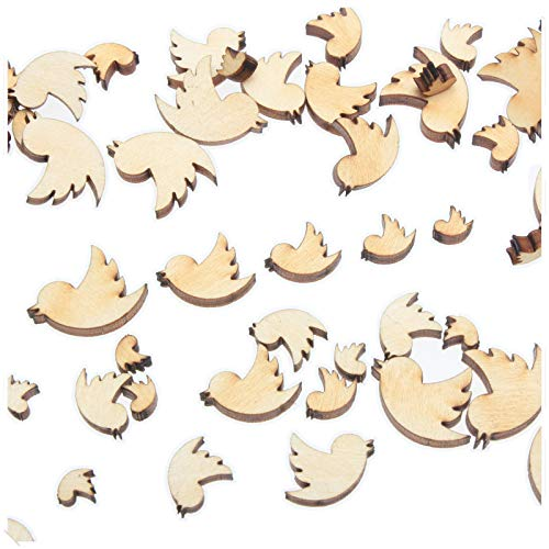 yuhoshop: 100 pcs [Twitter Bird Shaped] Mini Mixed Small Tiny Wooden Embellishments - Scrapbooking Shapes for Craft Decor Button