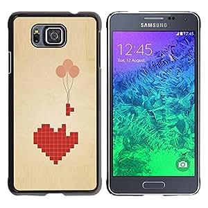 TopCaseStore / la caja del caucho duro de la cubierta de protección de la piel - Love Pixel Art Balloon Brown Beige Heart - Samsung GALAXY ALPHA G850