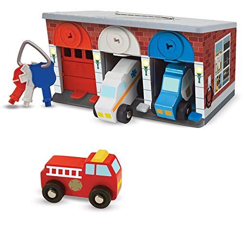 Melissa & Doug Lock and Roll Rescue Garage: Wooden Toy Play Set + 1 Scratch Art Mini-Pad Bundle (#04607)