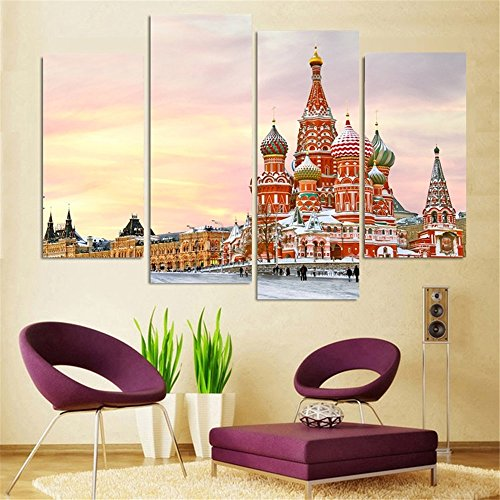 (4 Panels Church Of Moscow Canvas Print Oil Painting Home Decor Wall Art Picture For Room(No Frame))