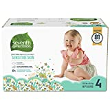 Seventh Generation Baby Diapers for Sensitive Skin, Animal Prints, Size 4, 81 Count